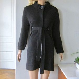 VINCE BLACK CASHMERE WOOL BELTED SWEATER COAT